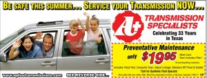 Summer transmission preventative maintenance coupon - $19.95